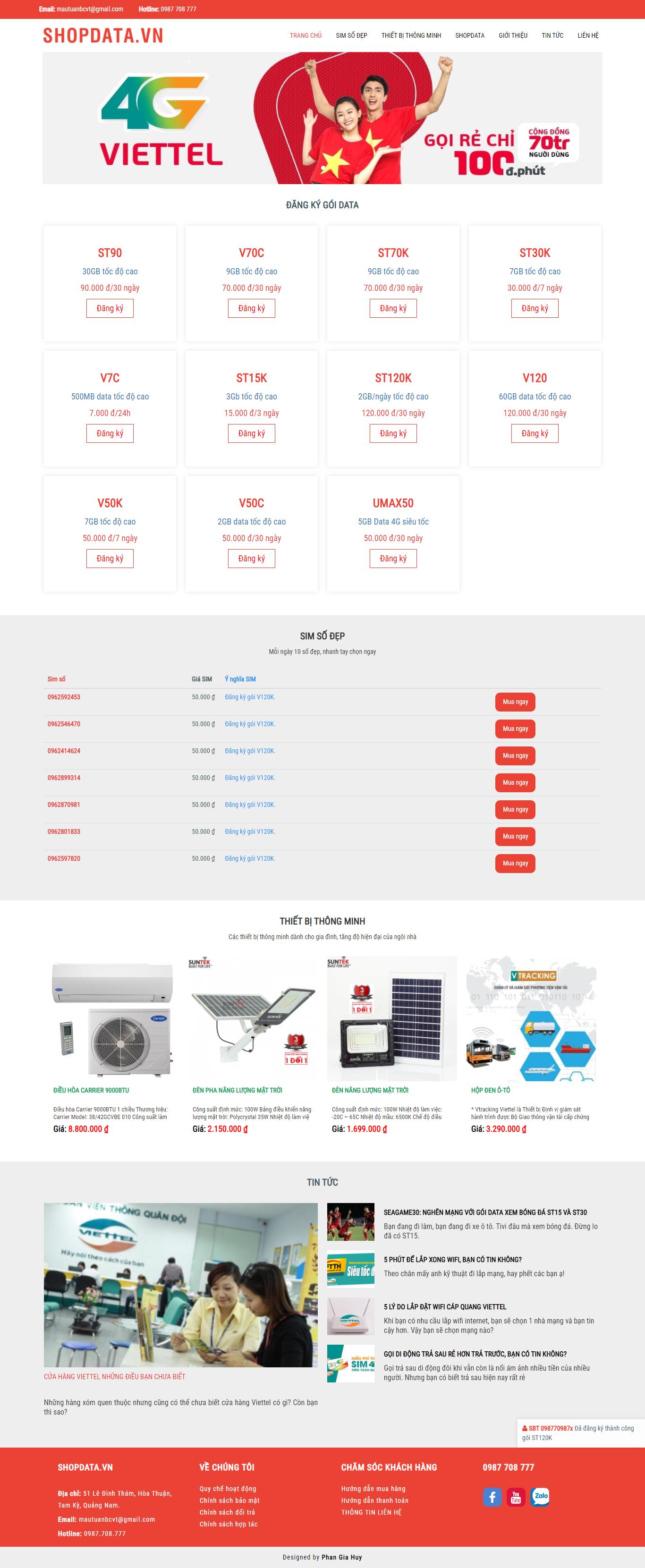 Website mua sắm online của Viettel - SHOPDATA.VN